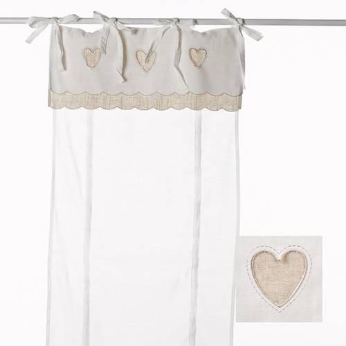 Tenda cotone con mantovana cuore ecru 60x230h