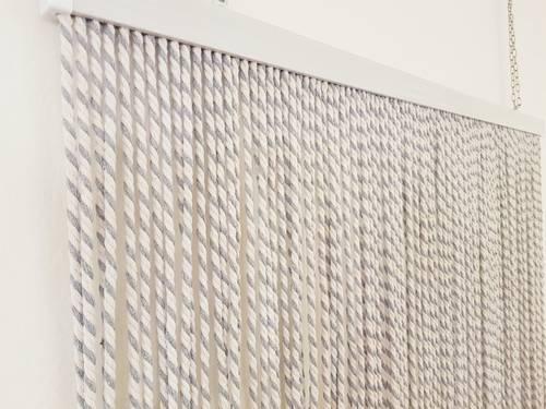 Tenda da porta corda cotone grigia bicolore 100x220