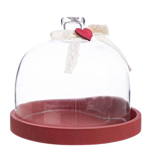 Tortiera legno rossa con campana decoro cuore