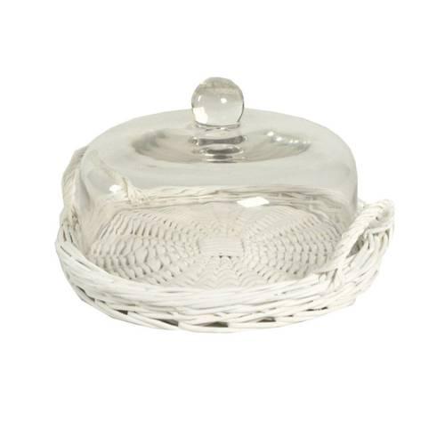 Tortiera vimini bianco con campana in vetro 27cm