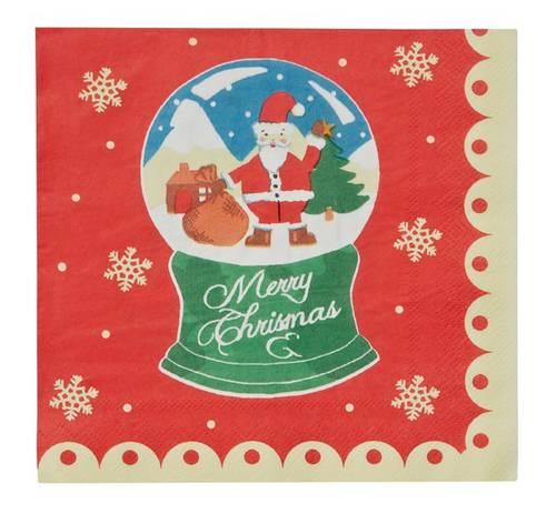 Tovaglioli carta natalizi sfere di neve 20pz