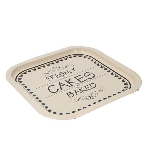 Vassoio cakes quadrato metallo crema