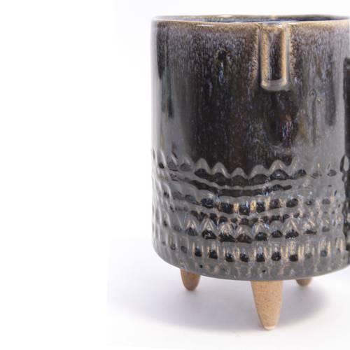 Vaso ceramica ciano con piedini legno
