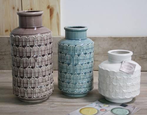 Vaso ceramica colorata lavorato a rilievo