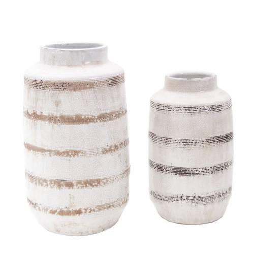 Vaso ceramica ecru fasce marroni
