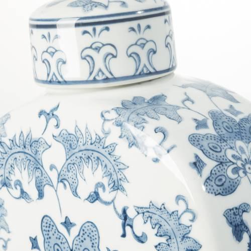 Vaso ceramica fiori blu antica cina 32h