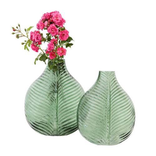 Vaso foglia verde in vetro da fiori