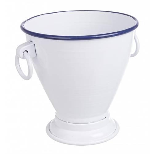Vaso metallo bianco smaltato riga blu