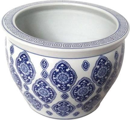 Vaso porcellana cinese decori blu cm 36