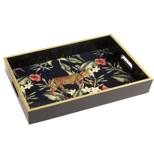 Vassoio legno nero Jungle Leopardo
