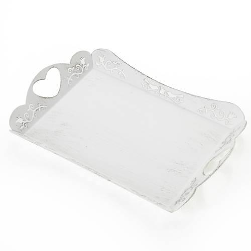 Vassoio metallo bianco shabby maniglie cuore 24x17