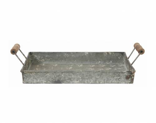 Vassoio metallo zincato con maniglie legno
