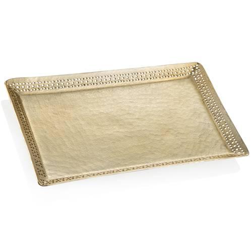 Vassoio rettangolare metallo oro bordo traforato 38x26