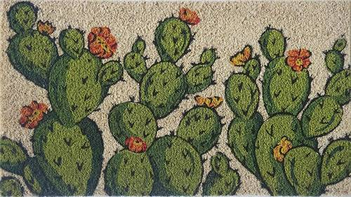 Zerbino cocco da ingresso dipinto foglie cactus verdi