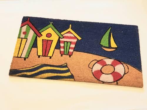 Zerbino cocco casette marinare sulla spiaggia 40x70