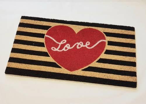 Zerbino cocco da ingresso dipinto Love cuore rosso 40x70