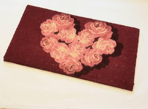 Zerbino cocco ingresso rosso cuore di rose 40x70