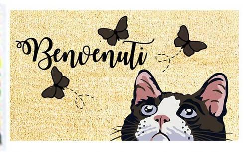 Zerbino cocco Benvenuti gatto e farfalle 40x70
