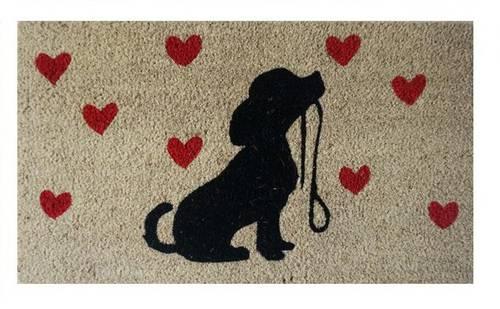 Zerbino cocco cane con guinzaglio cuori rossi 40x70