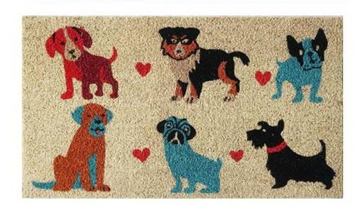 Zerbino cocco disegno 6 razze cani colorati 40x70