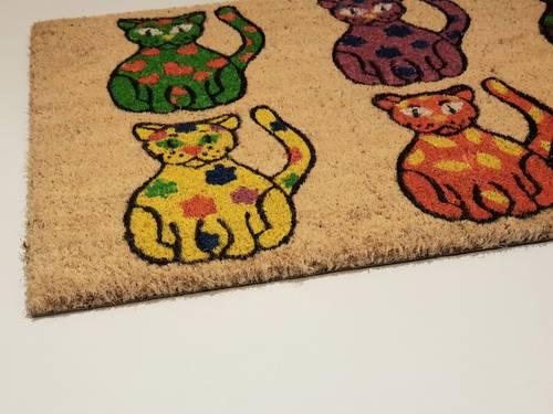 Zerbino cocco ingresso 6 gatti colorati 40x70
