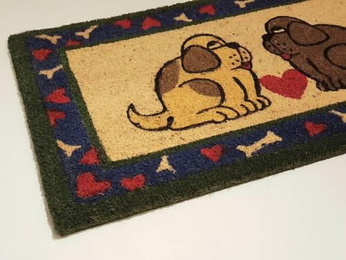 Zerbino cocco ingresso due cani con cuore 40x70