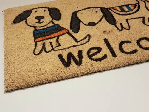 Zerbino cocco ingresso tre cani welcome 40x70 fondo neutro