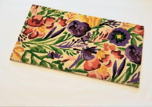 Zerbino ingresso cocco fiori viola fondo neutro 40x70