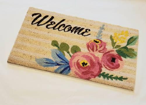 Zerbino ingresso cocco welcome rose rosa 40x70