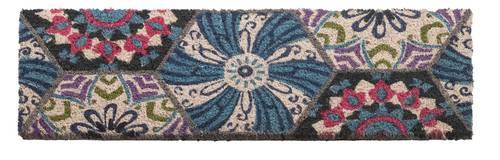 Zerbino scalino cocco boho fiore azzurro 24x70