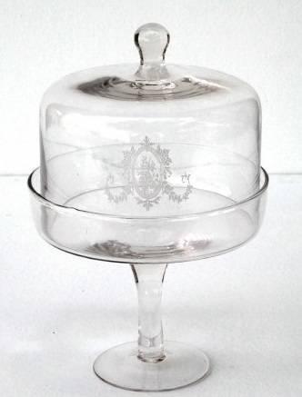 Alzata vetro con campana c/stemma h 28