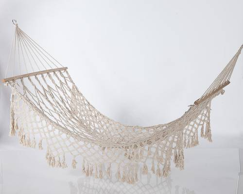 Amaca rete cotone naturale con frangia laterale 100x220
