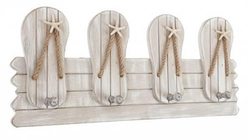 Appendiabiti ciabatte marinaro legno bianco 4 ganci a parete