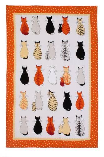 Asciugapiatti - tea towel cotone gatti in attesa cornice arancio