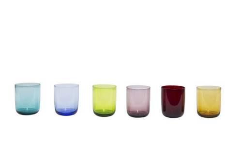 Bicchiere liscio colorato 6 pz
