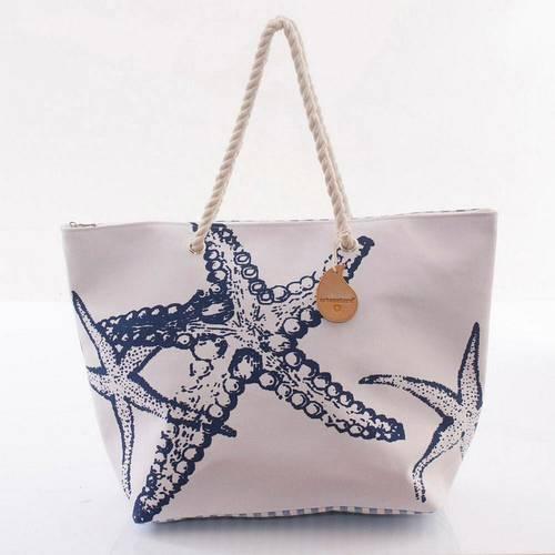 Borsa mare tela bianca stelle marine blu con manici corda