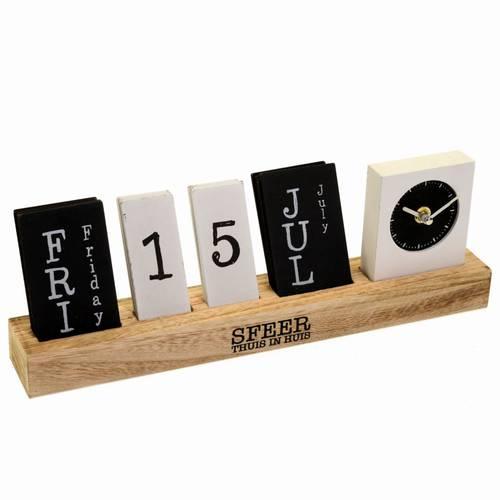 Calendario da tavolo in legno con orologio