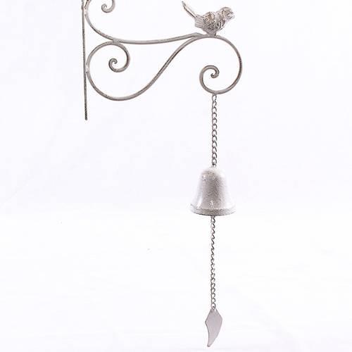 Campanella ferro bianco con uccellino