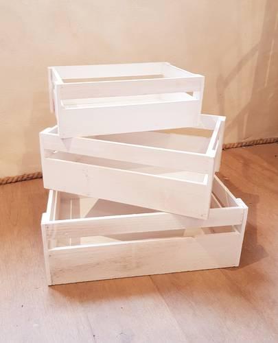 Cassetta legno bianco shabby tipo frutta