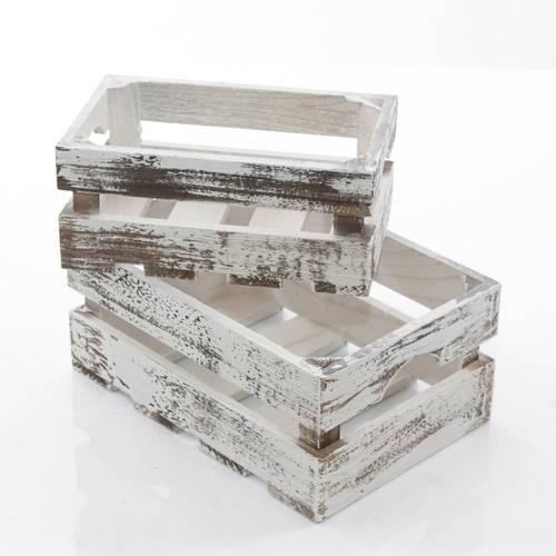 Cassetta legno bianco invecchiato shabby modello frutta