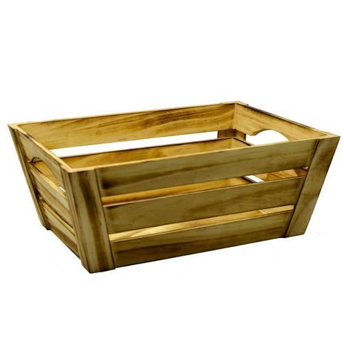 Cassetta legno brunito svasata piccola 39x29x15h