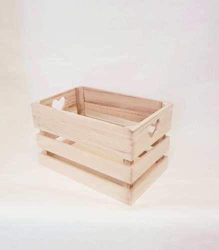 Cassetta legno naturale maniglie cuore 26x16x16h
