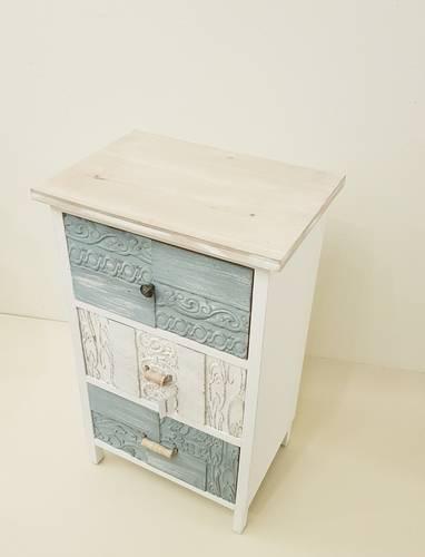 Cassettiera decori azzurri bianchi legno 3 cassetti