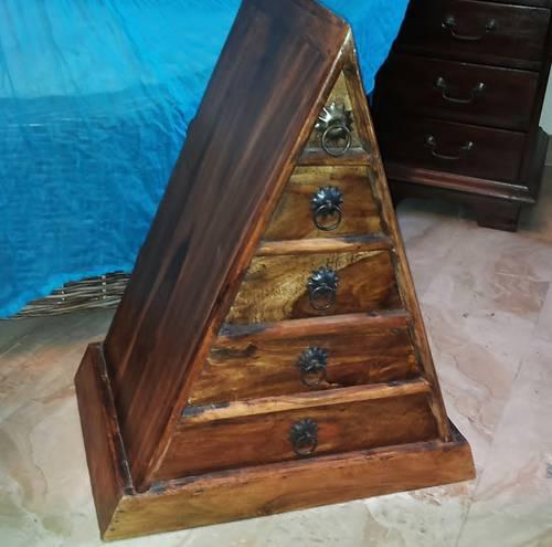 Cassettiera piramide acacia 5 cassetti