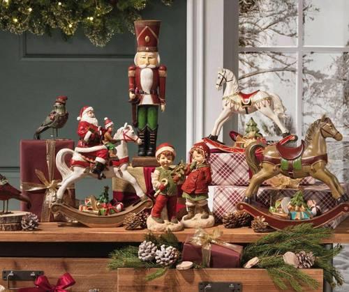 Cavallo bianco dondolo natalizio con babbo natale 38h