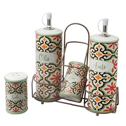 Menage olio aceto sale e pepe ceramica Cefalù con supporto