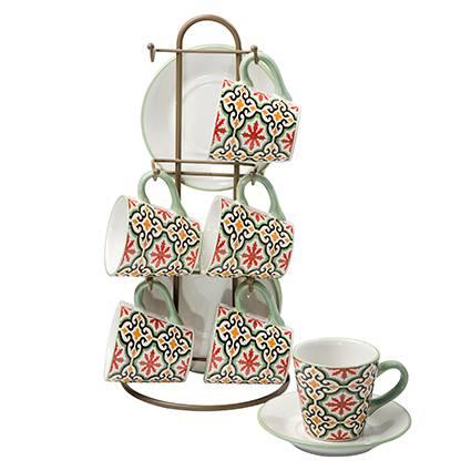 Tazzine caffè Cefalù ceramica 6pz con supporto
