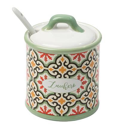 Zuccheriera Cefalù ceramica colorata con cucchiaino