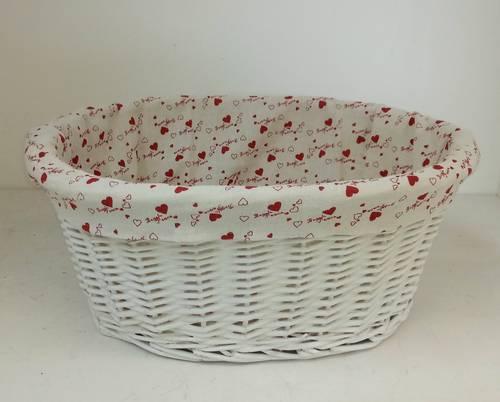Cesto bici ovale vimini bianco fodera cuori rossi