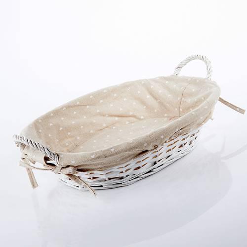 Cesto vassoio ovale vimini bianco fodera cuoricini
